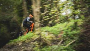 an electric orange bike tearing it up through the woods